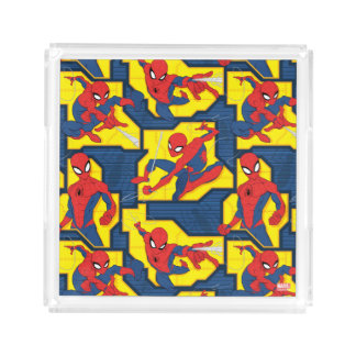 Spider-Man Web Slinging Panel Pattern Acrylic Tray