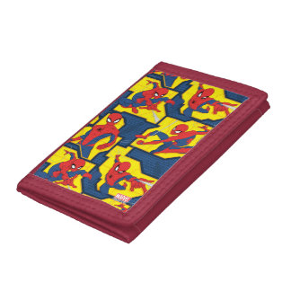 Spider-Man Web Slinging Panel Pattern Trifold Wallet