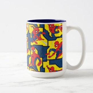 Spider-Man Web Slinging Panel Pattern Two-Tone Coffee Mug