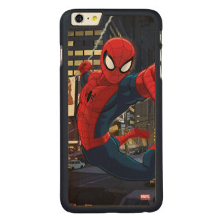 Spider-Man Web Slinging Through Traffic Carved® Maple iPhone 6 Plus Case
