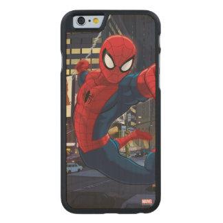 Spider-Man Web Slinging Through Traffic Carved® Maple iPhone 6 Slim Case