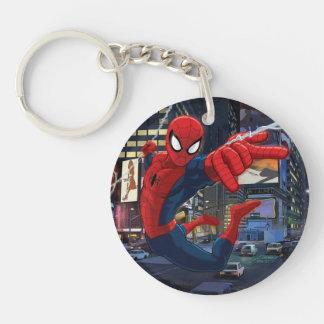 Spider-Man Web Slinging Through Traffic Double-Sided Round Acrylic Keychain