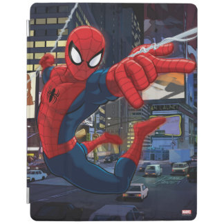 Spider-Man Web Slinging Through Traffic iPad Cover