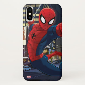 Spider-Man Web Slinging Through Traffic iPhone X Case