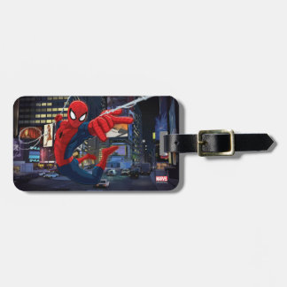 Spider-Man Web Slinging Through Traffic Luggage Tag