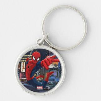 Spider-Man Web Slinging Through Traffic Silver-Colored Round Keychain