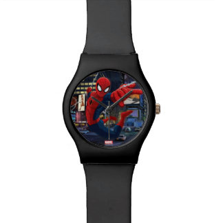 Spider-Man Web Slinging Through Traffic Wrist Watches