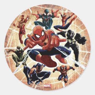 Spider-Man Web Warriors Attack Round Sticker