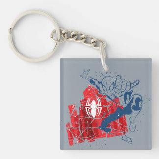 Spider-Man Worn Graphic Double-Sided Square Acrylic Keychain