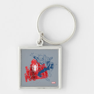 Spider-Man Worn Graphic Silver-Colored Square Keychain