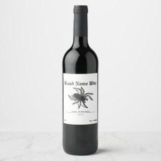 Spider Minimalist Creepy Halloween Tarantula Wine Label