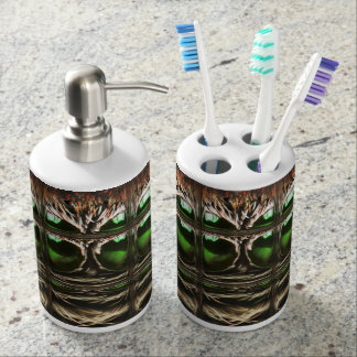 Spider mosaic soap dispenser and toothbrush holder