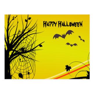Spider On Web Halloween Postcard