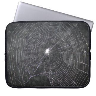 Spider Web At Night Laptop Sleeve