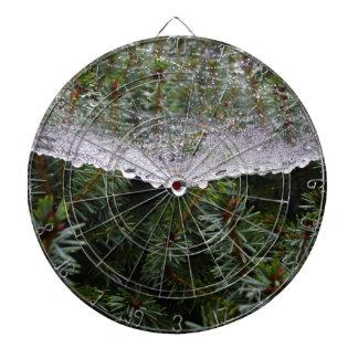 Spider web dartboard with darts