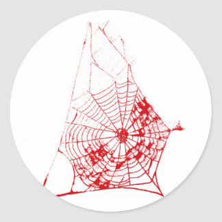 Spider Web The MUSEUM Zazzle Red Web Round Stickers