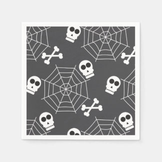 Spider webs, skulls, crossbones pattern Halloween Paper Napkin