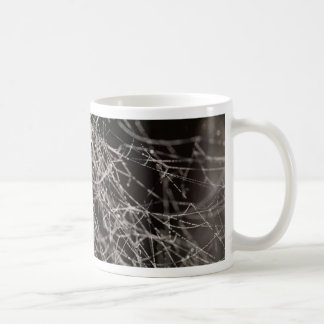 Spider webs with dew drops coffee mug