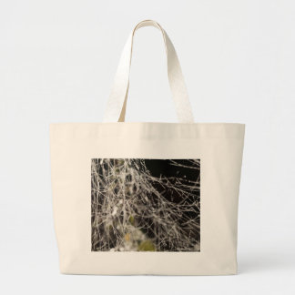 Spider webs with dew drops large tote bag