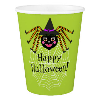 Spider Witch Halloween Party Paper Cup