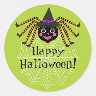 Spider Witch Happy Halloween Classic Round Sticker