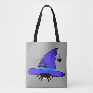 Spider Witch Hat Halloween Purple Web Spiders Blue Tote Bag