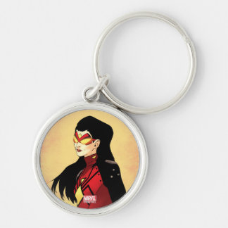 Spider-Woman Clenched Fists Silver-Colored Round Keychain