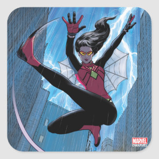 Spider-Woman Getting The Drop On Villain Square Sticker