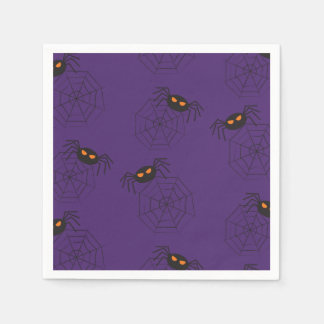 Spiders and spider webs pattern Halloween Paper Napkins