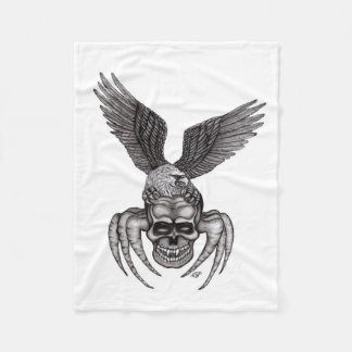 Spiderskull with Eagle in Tattoo-style Fleece Blanket