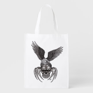 Spiderskull with Eagle in Tattoo-style Reusable Grocery Bag
