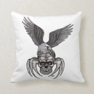 Spiderskull with Eagle Throw Pillow