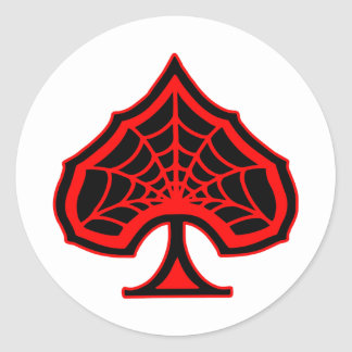 Spiderweb Ace Of Spades Classic Round Sticker