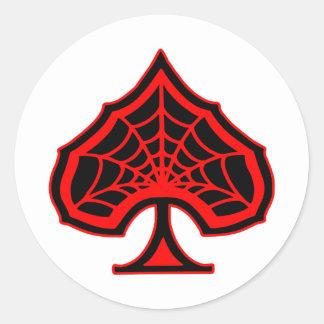 Spiderweb Ace Of Spades Round Sticker