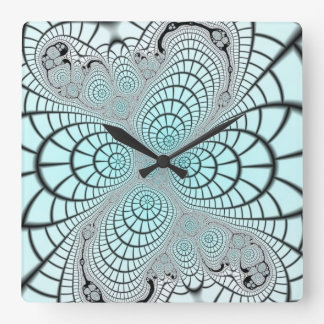 Spiderweb Fractal Square Wall Clock