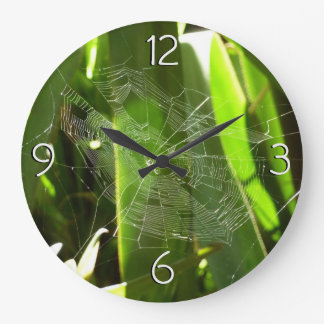 Spiderweb in Tropical Leaves Green Nature Clocks