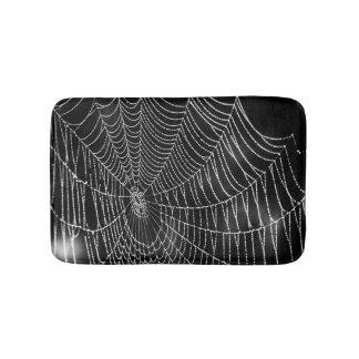 Spiderweb on Black Background Bath Mat