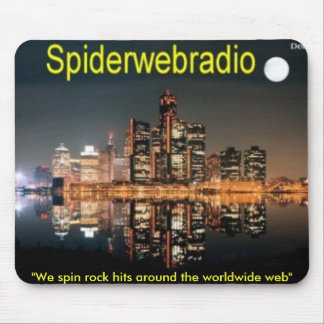 "spiderwebradiodet, ""We spin rock hits around th... Mouse Pad"
