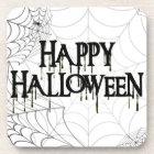 Spiderwebs And Happy Halloween Creepy Text Coaster