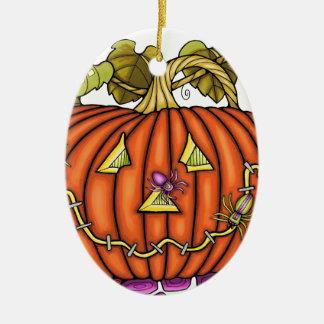Spidery Jack O'Lantern Ceramic Ornament