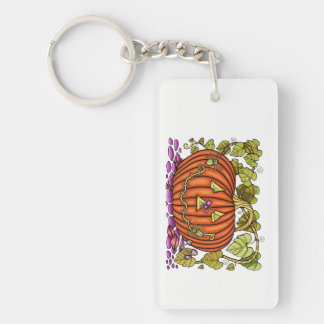Spidery Jack O'Lantern Double-Sided Rectangular Acrylic Keychain