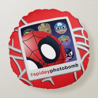 #spideyphotobomb Spider-Man Emoji Round Pillow