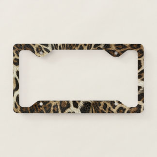 Spiffy Leopard Spots Leather Grain Look License Plate Frame