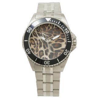 Spiffy Leopard Spots Leather Grain Look Watches