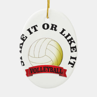 spike it or like it volly ball ceramic oval ornament
