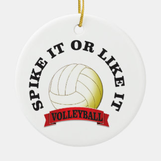spike it or like it volly ball round ceramic ornament