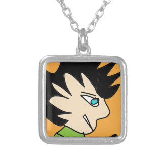 spike kid cartoon face silver plated necklace
