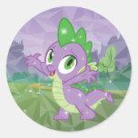 Spike the Dragon Round Sticker