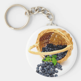 Spilled Blueberries Basic Round Button Keychain