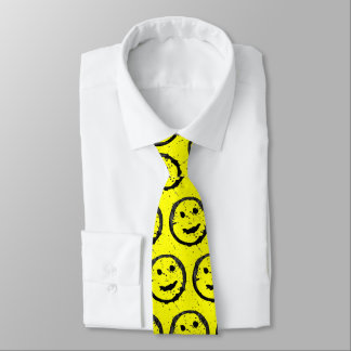Spilled Stained Happy Smiley face pattern Yellow Tie